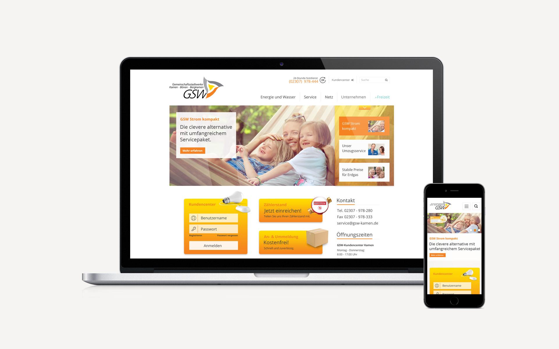 Corporate Website für die GSW Gemeinschaftsstadtwerke GmbH
